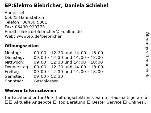 EP:Elektro Biebricher in Hahnstätten: Adresse und Öffnungszeiten