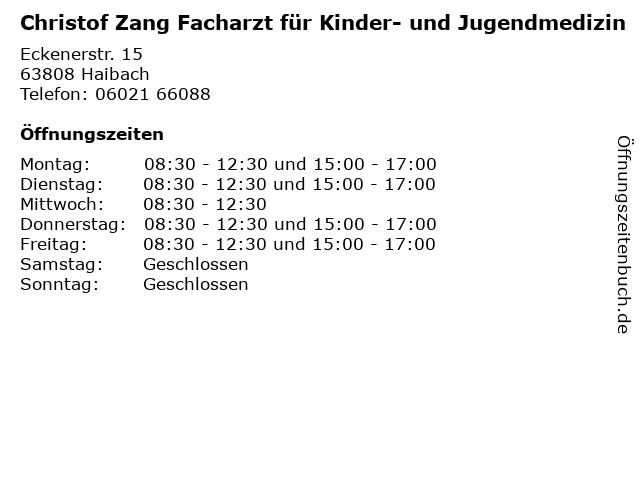 Christof Zang Facharzt für Kinder- und Jugendmedizin in Haibach: Adresse und Öffnungszeiten