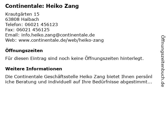 Continentale: Heiko Zang in Haibach: Adresse und Öffnungszeiten