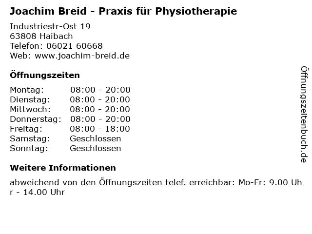 Joachim Breid - Praxis für Physiotherapie in Haibach: Adresse und Öffnungszeiten