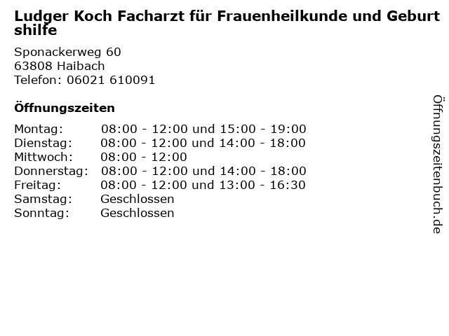 Ludger Koch Facharzt für Frauenheilkunde und Geburtshilfe in Haibach: Adresse und Öffnungszeiten