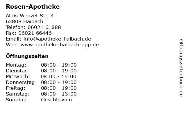 Rosen-Apotheke in Haibach: Adresse und Öffnungszeiten