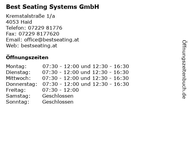 Best Seating Systems GmbH in Haid: Adresse und Öffnungszeiten