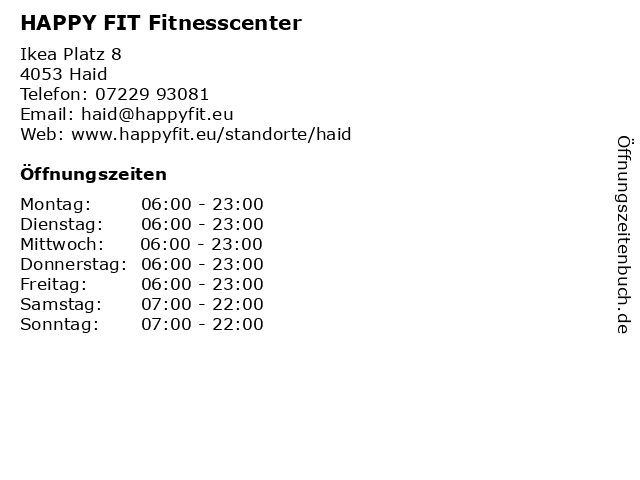 ᐅ Offnungszeiten Happy Fit Fitnesscenter Ikea Platz 8 In Haid