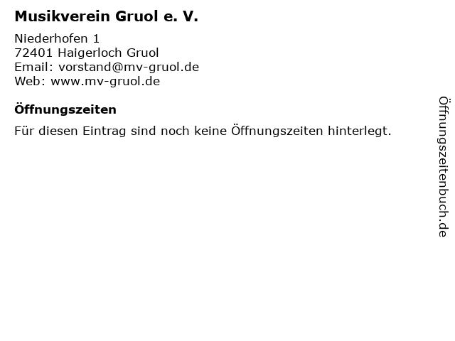 Musikverein Gruol e. V. in Haigerloch Gruol: Adresse und Öffnungszeiten