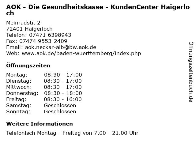 AOK - Die Gesundheitskasse - KundenCenter Haigerloch in Haigerloch: Adresse und Öffnungszeiten