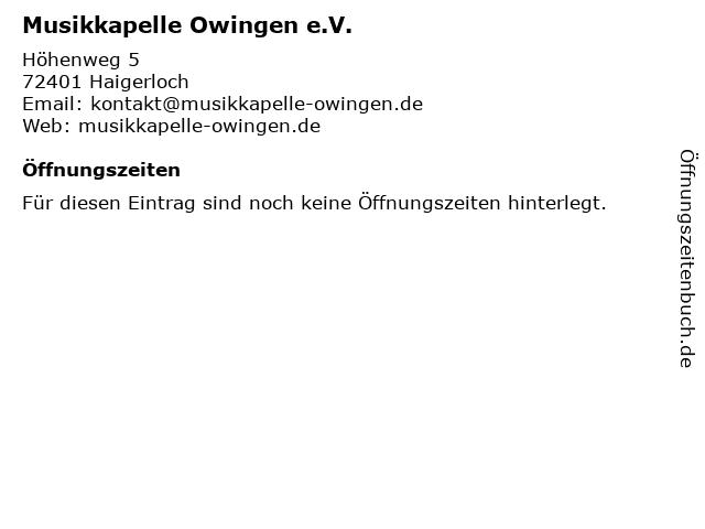 Musikkapelle Owingen e.V. in Haigerloch: Adresse und Öffnungszeiten