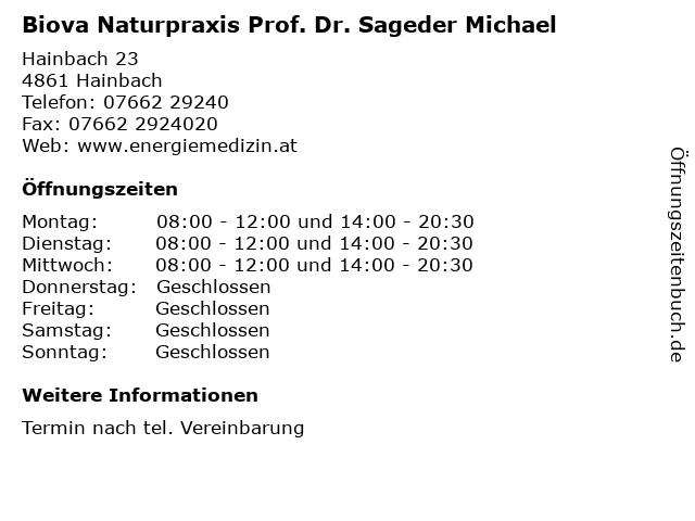 Biova Naturpraxis Prof. Dr. Sageder Michael in Hainbach: Adresse und Öffnungszeiten