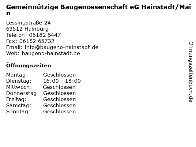 Gemeinnützige Baugenossenschaft eG Hainstadt/Main in Hainburg: Adresse und Öffnungszeiten