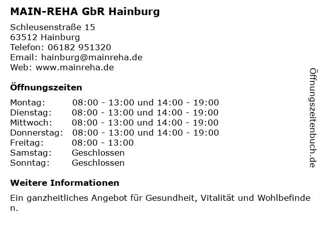 MAIN-REHA GbR Hainburg in Hainburg: Adresse und Öffnungszeiten