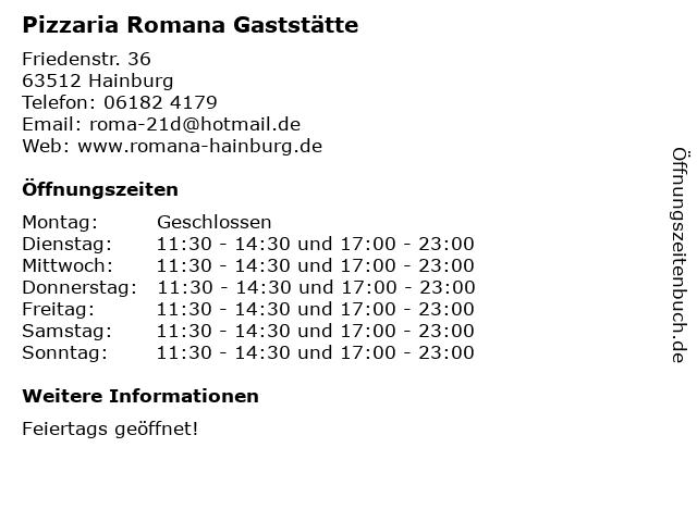 Pizzaria Romana Gaststätte in Hainburg: Adresse und Öffnungszeiten