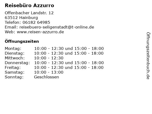 Reisebüro Azzurro in Hainburg: Adresse und Öffnungszeiten