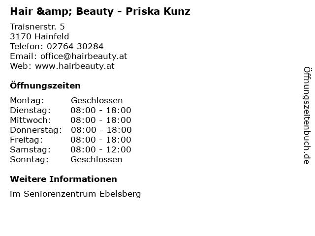 Hair & Beauty - Priska Kunz in Hainfeld: Adresse und Öffnungszeiten