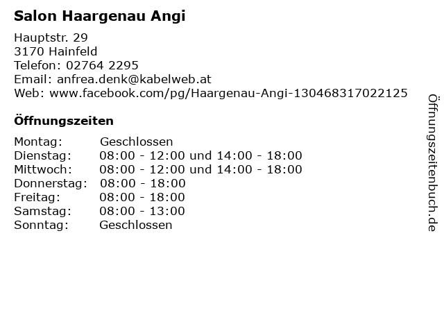 Salon Haargenau Angi in Hainfeld: Adresse und Öffnungszeiten