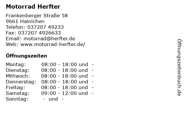 Motorrad Herfter in Hainichen: Adresse und Öffnungszeiten