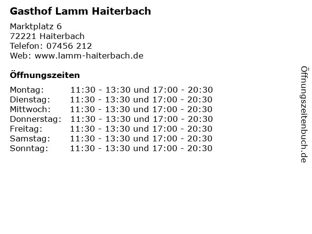 Gasthof Lamm Haiterbach in Haiterbach: Adresse und Öffnungszeiten