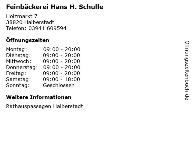 Feinbäckerei Hans H. Schulle in Halberstadt: Adresse und Öffnungszeiten