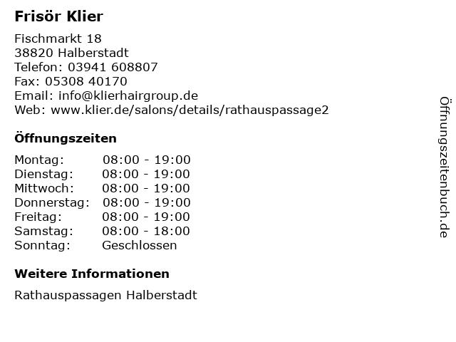 Frisör Klier GmbH in Halberstadt: Adresse und Öffnungszeiten