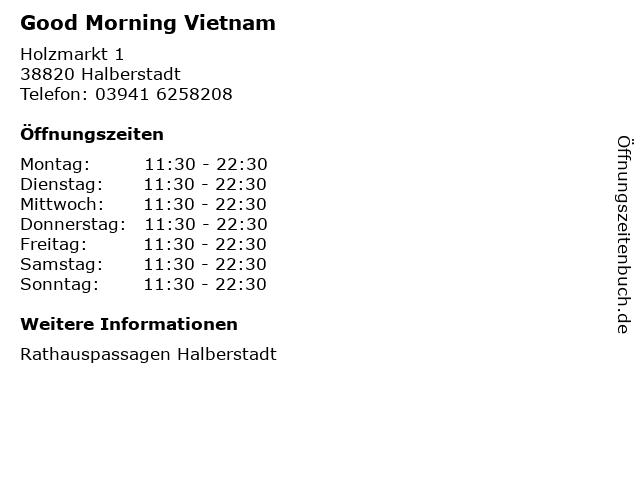 Good Morning Vietnam in Halberstadt: Adresse und Öffnungszeiten