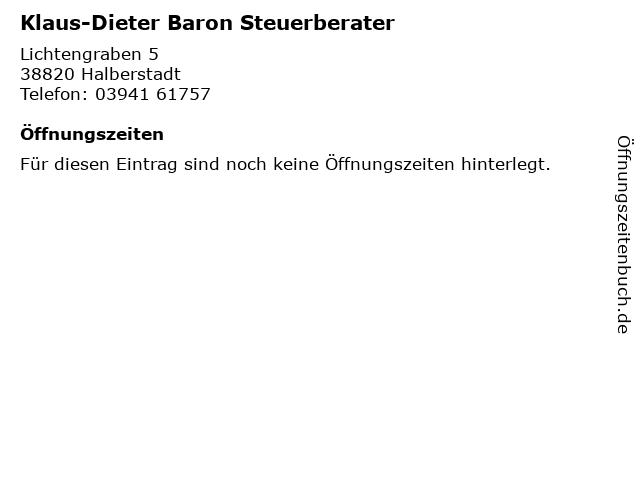 Klaus-Dieter Baron Steuerberater in Halberstadt: Adresse und Öffnungszeiten