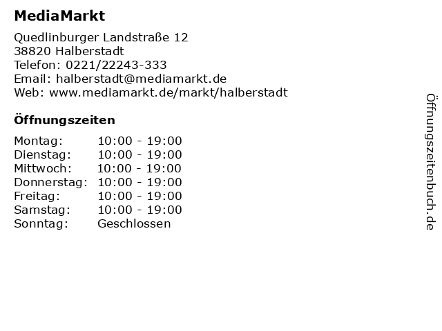 Media Markt Halberstadt in Halberstadt: Adresse und Öffnungszeiten