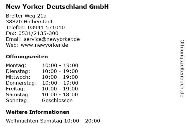 New Yorker Deutschland GmbH in Halberstadt: Adresse und Öffnungszeiten