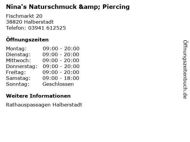 Nina's Naturschmuck & Piercing in Halberstadt: Adresse und Öffnungszeiten
