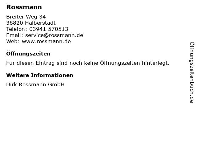 Rossmann in Halberstadt: Adresse und Öffnungszeiten