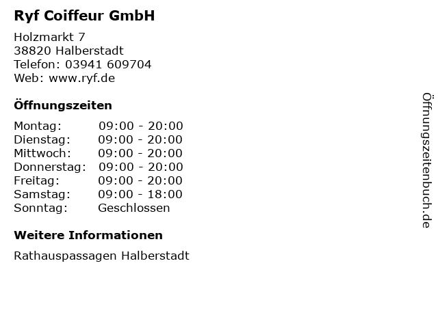 Ryf Coiffeur GmbH in Halberstadt: Adresse und Öffnungszeiten