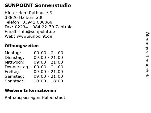 SUNPOINT Sonnenstudio in Halberstadt: Adresse und Öffnungszeiten