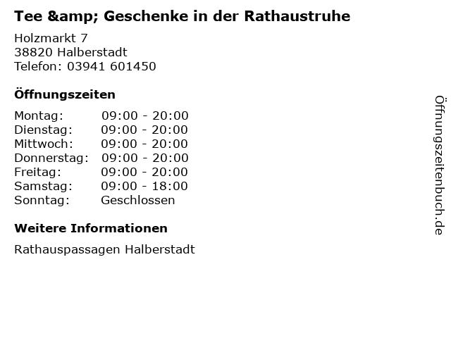 Tee & Geschenke in der Rathaustruhe in Halberstadt: Adresse und Öffnungszeiten