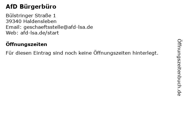 AfD Bürgerbüro in Haldensleben: Adresse und Öffnungszeiten