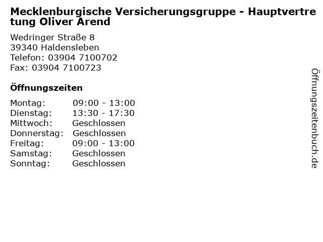 Mecklenburgische Versicherungsgruppe - Hauptvertretung Oliver Arend in Haldensleben: Adresse und Öffnungszeiten