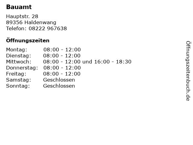 Bauamt in Haldenwang: Adresse und Öffnungszeiten