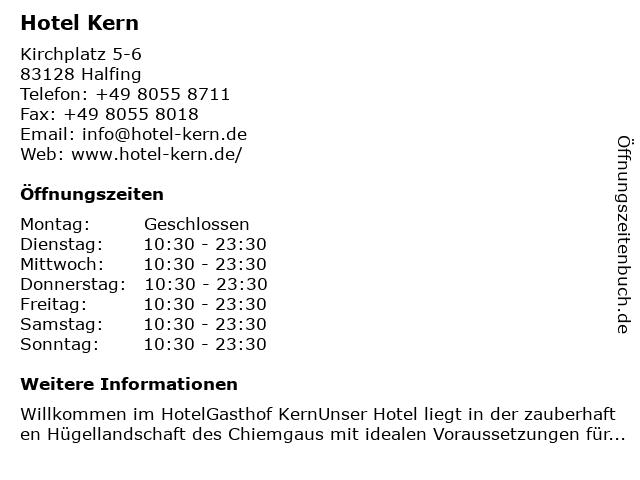 Hotel-Gasthof Kern Familie Wildner-Binsteiner in Halfing: Adresse und Öffnungszeiten