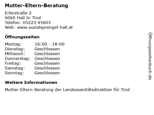 Mutter-Eltern-Beratung in Hall In Tirol: Adresse und Öffnungszeiten