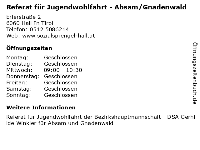Referat für Jugendwohlfahrt - Absam/Gnadenwald in Hall In Tirol: Adresse und Öffnungszeiten