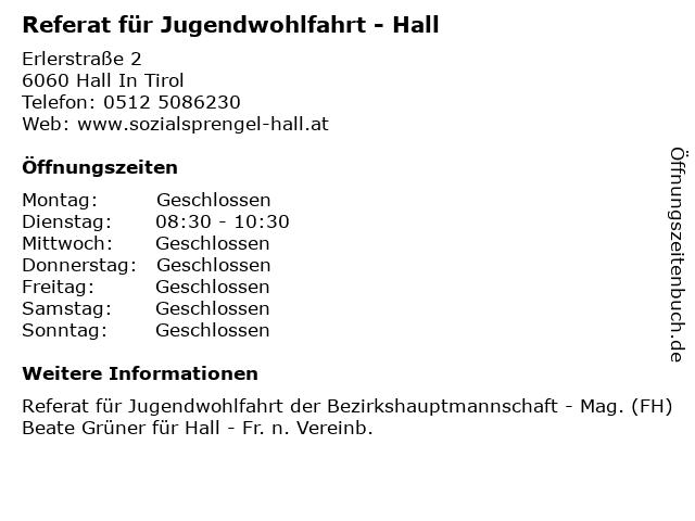 Referat für Jugendwohlfahrt - Hall in Hall In Tirol: Adresse und Öffnungszeiten