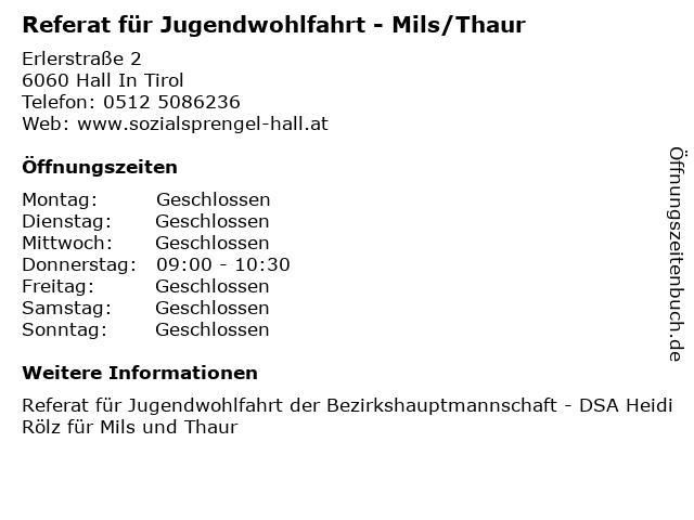 Referat für Jugendwohlfahrt - Mils/Thaur in Hall In Tirol: Adresse und Öffnungszeiten
