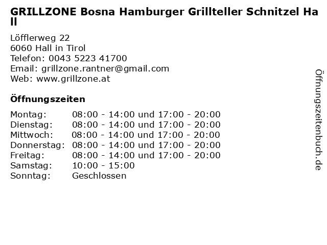 GRILLZONE Bosna Hamburger Grillteller Schnitzel Hall in Hall in Tirol: Adresse und Öffnungszeiten