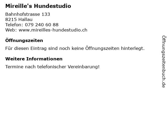 Mireille's Hundestudio in Hallau: Adresse und Öffnungszeiten