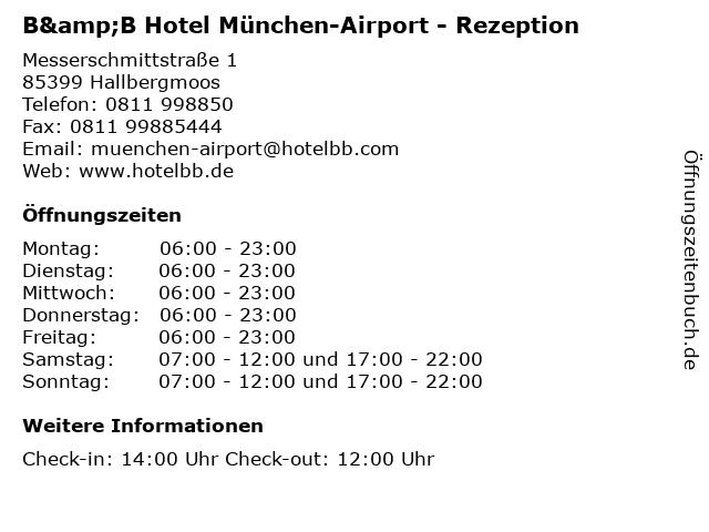 ᐅ Offnungszeiten B B Hotel Munchen Airport Rezeption