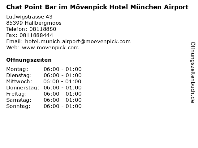 Chat Point Bar im Mövenpick Hotel München Airport in Hallbergmoos: Adresse und Öffnungszeiten