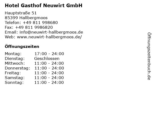 Hotel Gasthof Neuwirt GmbH in Hallbergmoos: Adresse und Öffnungszeiten