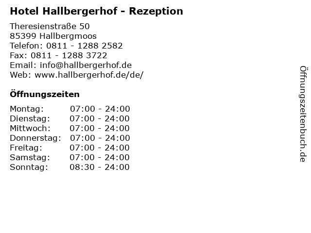 Hotel Hallbergerhof - Rezeption in Hallbergmoos: Adresse und Öffnungszeiten