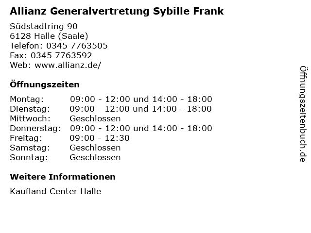 Allianz Generalvertretung Sybille Frank in Halle (Saale): Adresse und Öffnungszeiten