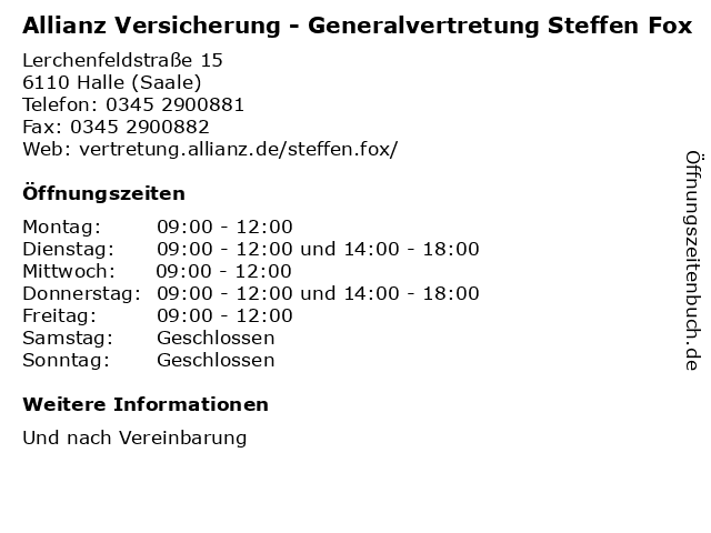 Allianz Versicherung - Generalvertretung Steffen Fox in Halle (Saale): Adresse und Öffnungszeiten