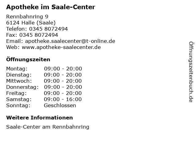Apotheke im Saale-Center in Halle (Saale): Adresse und Öffnungszeiten