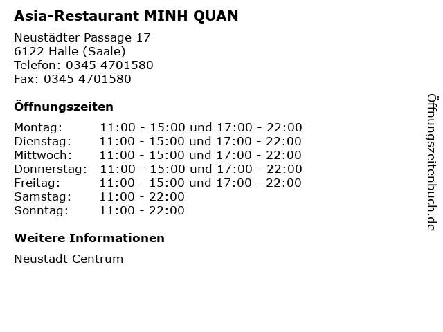 Asia-Restaurant MINH QUAN in Halle (Saale): Adresse und Öffnungszeiten