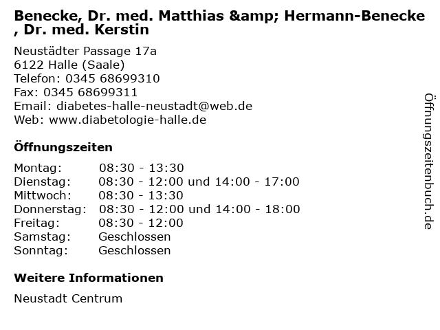 Benecke, Dr. med. Matthias & Hermann-Benecke, Dr. med. Kerstin in Halle (Saale): Adresse und Öffnungszeiten